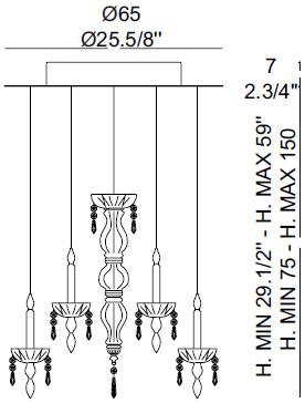 Dimensions lustre Limelight 12.4 de Façon de Venise