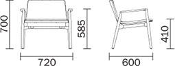Dimensions fauteuil lounge Malmö 295 de Pedrali