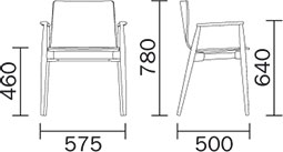Dimensions fauteuil Malmö 395 de Pedrali