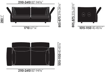 Dimensions Mariposa Sofa 2 1/2-Seater Vitra