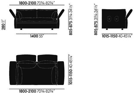 Dimensions Mariposa Sofa 2-Seater Vitra