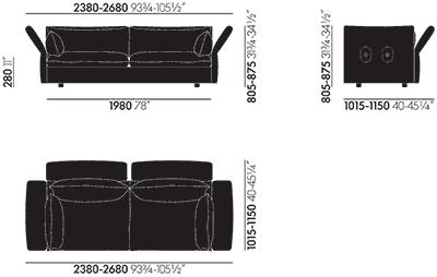 Dimensions Mariposa Sofa 3-Seater Vitra