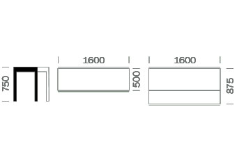 Dimensions console Matrix de Pedrali