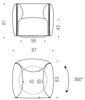 Dimensions du fauteuil Mia de MDF Italia