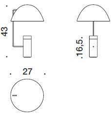Dimensions lampe de table Mia de Danese