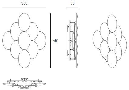 Dimensions applique MLN Obolo de Milan Iluminacion