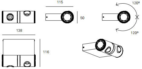 Dimensions applique MLN Robotic de Milan Iluminacion