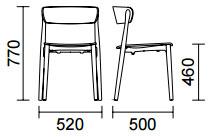 Dimensions chaise Nemea de Pedrali