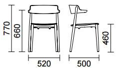 Dimensions chaise Nemea 2825 de Pedrali
