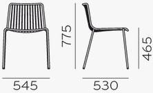 Dimensions chaise Nolita 3650 de Pedrali