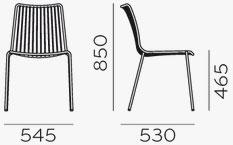 Dimensions chaise Nolita 3651 de Pedrali