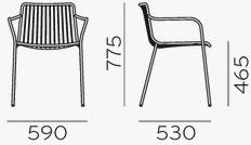 Dimensions fauteuil Nolita 3655 de Pedrali