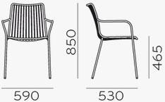Dimensions fauteuil Nolita 3656 de Pedrali