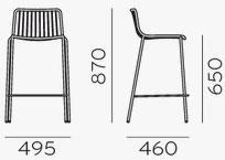 Dimensions tabouret Nolita 3657 de Pedrali