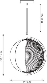 Dimensions suspension Mondo Oblure