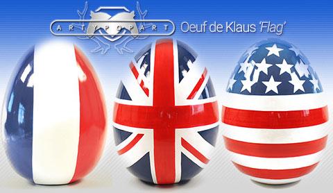 """Oeuf de Klaus """"Flag"""" de Artypopart - Livraison sous 48h"""