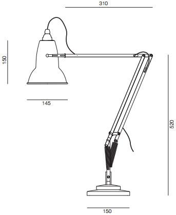 Dimensions lampe de bureau Anglepoise Original1227