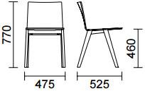 Dimensions chaise Osaka 2810 de Pedrali