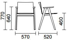 Dimensions fauteuil Osaka 2815 de Pedrali