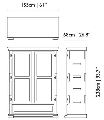 dimensions paper cupboard moooi