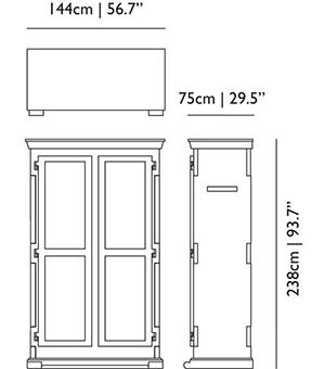 dimensions armoir wardrobe moooi paper