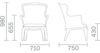 Dimensions fauteuil Pasha de Pedrali