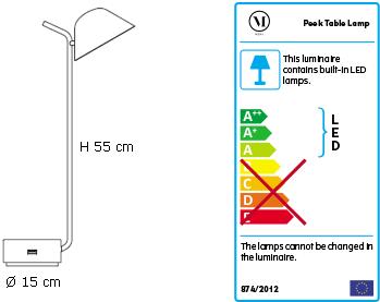 Dimensions lampe de table Peek de Menu