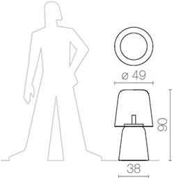 Dimensions lampe pour l'extérieur PicNic de Serralunga