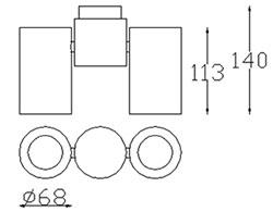 Dimensions Pipe double plafonnier de Leds-C4