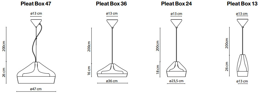 Dimensions suspensions Pleat Box de Marset