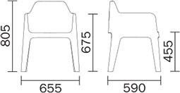 Dimensions fauteuil Plus 630 de Pedrali