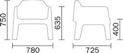 Dimensions fauteuil lounge Plus Air 631 de Pedrali