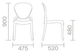 Dimensions chaise Queen de Pedrali