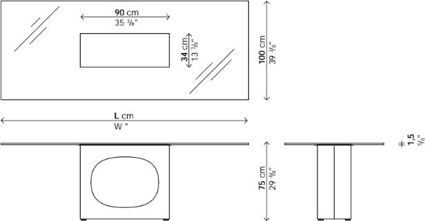 Dimensions table Holo verre Kristalia