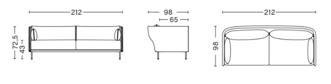 schema sofa silhouette mono 3 places