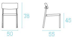 Dimensions chaise Shine de Emu