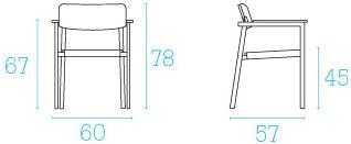 Dimensions fauteuil Shine de Emu
