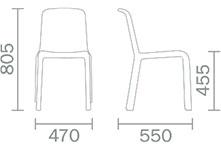 Dimensions chaise Snow 300 de Pedrali