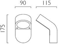 Dimensions applique outdoor Soprano PIR de Astro