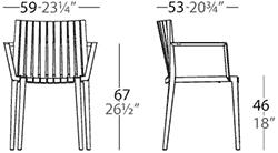 Dimensions chaise Spritz Vondom