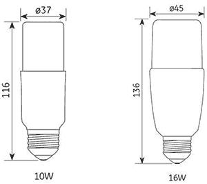 Dimensions ampoules LED Bright Stik de GE Lighting