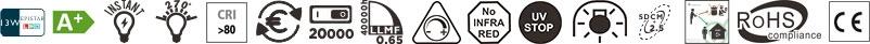 Caractéristiques ampoule Pro T38Led 13 Marino Cristal