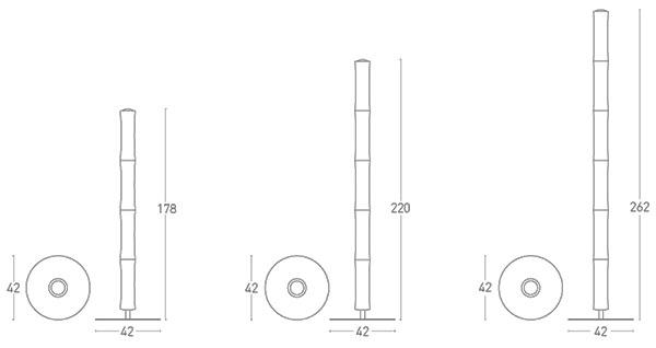 Dimensions lampadaire Také de Lumen Center Italia