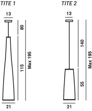 Dimensions suspension Tite Foscarini