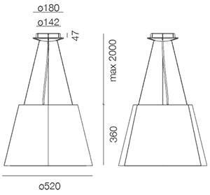 Dimensions suspension Tolomeo Mega Outdoor de Artemide