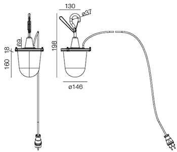 Dimensions suspension à crochet Tolomeo Lampione Outdoor de Artemide