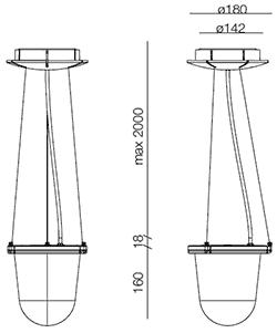Dimensions suspension Tolomeo Lampione Outdoor de Artemide