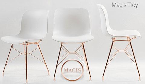 Chaise Troy de Magis avec piètement cuivre
