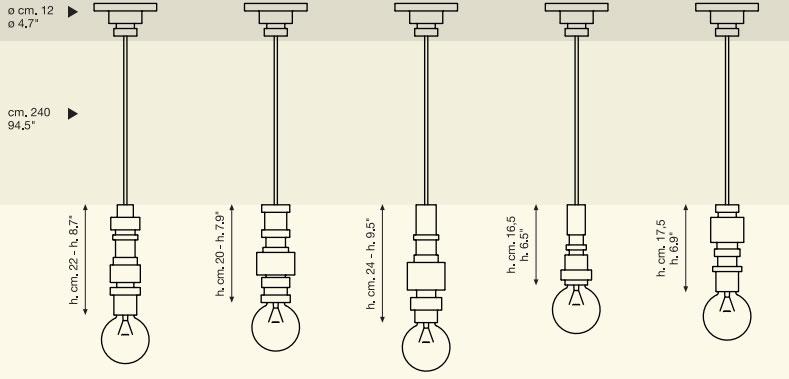 Dimensions suspensions Turn de Seletti