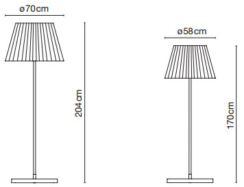 Dimensions lampadaires TXL de Marset